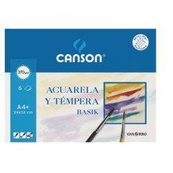 PAPEL ACUARELA CANSON BASIK A4 370GR.MINIPACK 6H.