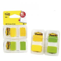 BANDERITAS POST-IT INDEX AMARILLO-VERDE NE 2X20HO