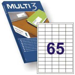 ETIQUETA ADHESIVA BLANCA MULTI-3 38X21.2MM. C/6500