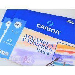 PAPEL ACUARELA CANSON BASIK A3 370GR.MINIPACK 6H.