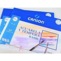 PAPEL ACUARELA CANSON BASIK A4+370GR MINIPACK 6H.