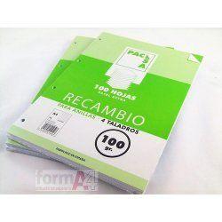 RECAMBIO PACSA 100GR. FOLIO 4T. 100H. CUADROS