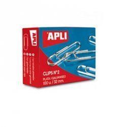 CLIPS PLATEADOS APLI Nº 2 32MM C/100