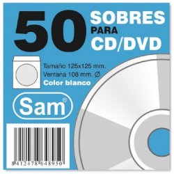 FUNDA PAPEL PARA CD/DVD SAM P/100